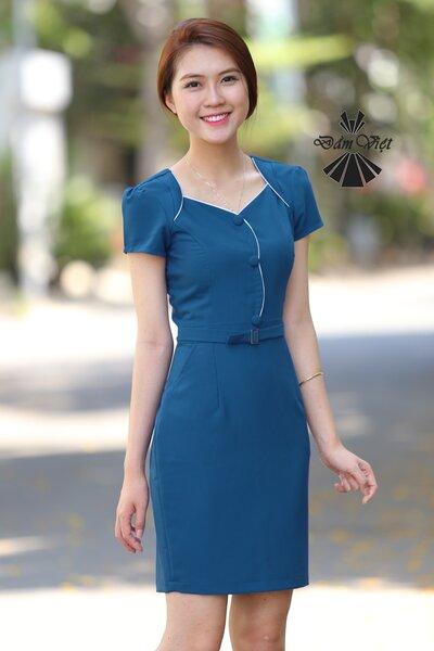Đầm ôm phối nút Đầm Việt DV311