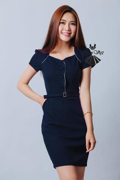Đầm ôm phối nút Đầm Việt DV294