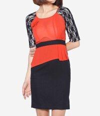 Đầm ôm tay ngắn phối ren The One Fashion DDC0311CDE