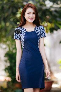 Đầm ôm xanh họa tiết Đầm Việt DV288