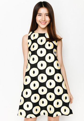 Đầm oversize Hoàng Khanh Fashion không tay họa tiết tròn