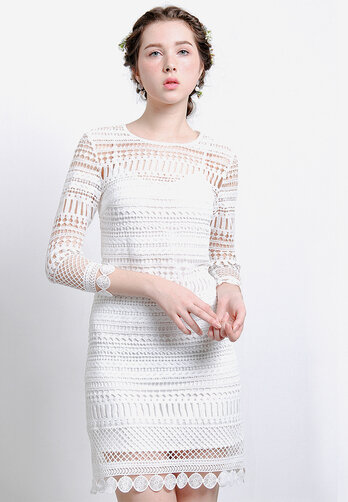 Đầm ren coton tay dài MARC VH031016