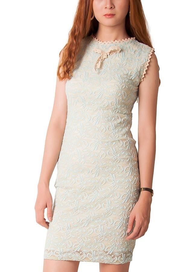 Đầm ren ngọc bích không tay Carita PAL0036