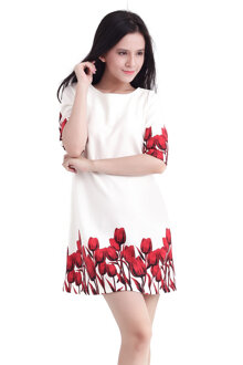 Đầm suông hoa tulip