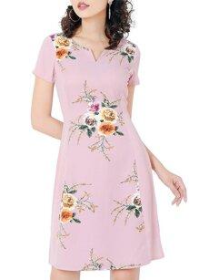 Đầm suông in hoa cổ xẻ chữ v thời trang Eden D203H
