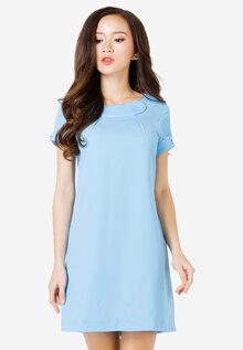 Đầm suông Lamer xanh da trời phối tay nhún