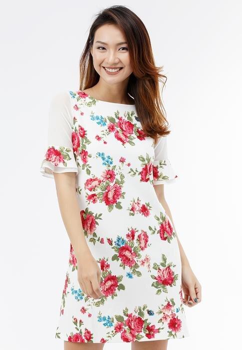 Đầm suông Sơn Nguyễn 26303 trắng in hoa
