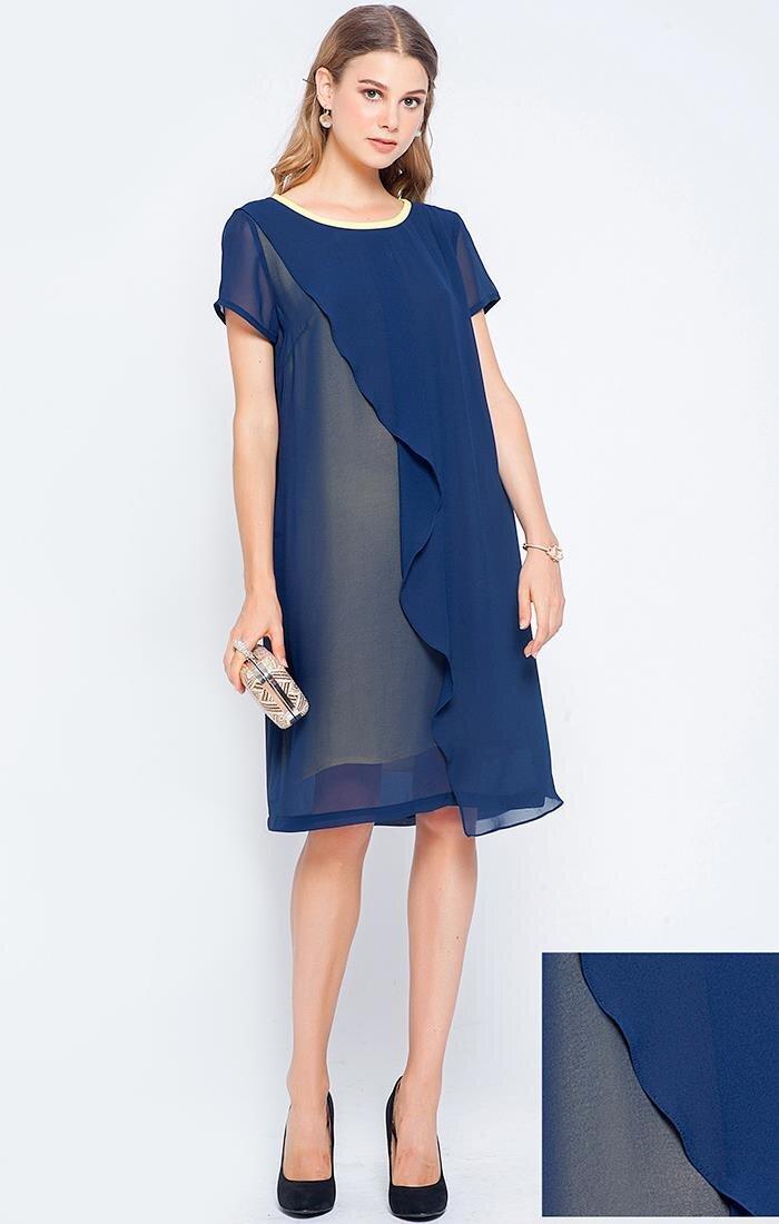 Đầm suông tay ngắn phối vạt họa tiết Lamer LMH03702016
