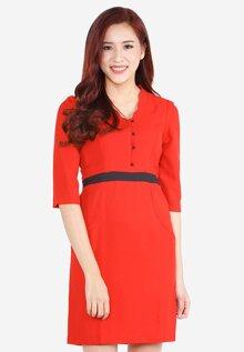 Đầm tay lỡ cổ viền răng cưa The One Fashion DDP2641DO