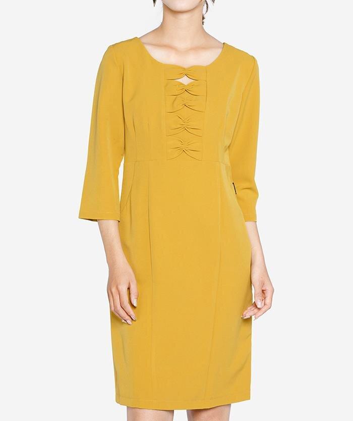 Đầm tay lỡ ngực phối nơ The One Fashion DDC0781VA