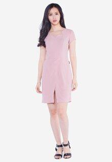 Đầm tay ngắn vạt xẻ The One Fashion DDY3703HN1