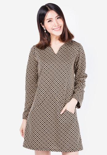 Đầm thu đông Hoàng Khanh Fashion màu xanh rêu in họa tiết