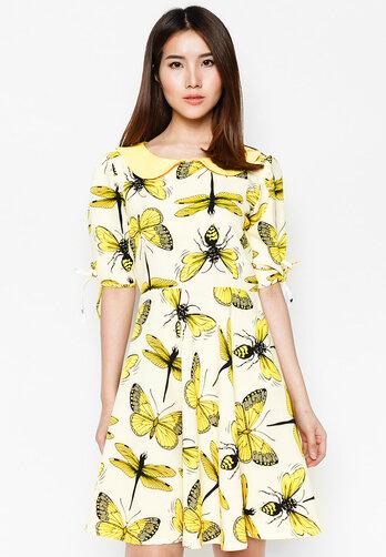 Đầm xòe Hoàng Khanh Fashion tay lửng cột nơ họa tiết