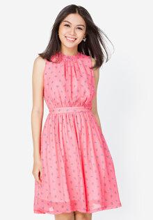 Đầm xòe nhún cổ Anna Collection