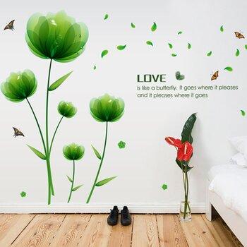 Decal dán tường Hoa xanh lá-PK134