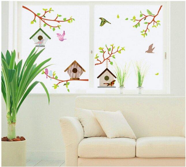 Decal dán tường trang trí phòng hình tổ chim DTY7096