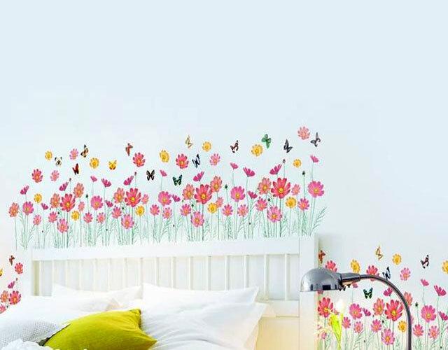 Decal trang trí chân tường hoa cúc hồng to