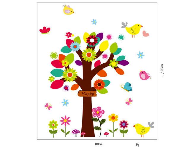 Decal trang trí dán tường cây mùa thu 3D