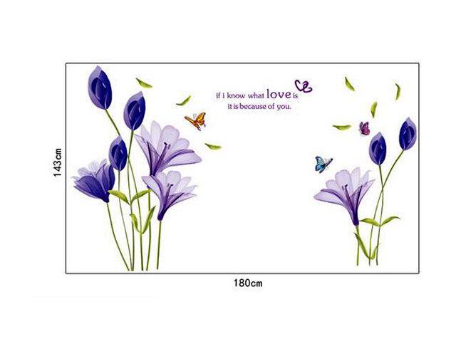 Decal trang trí dán tường hoa anh thảo tím