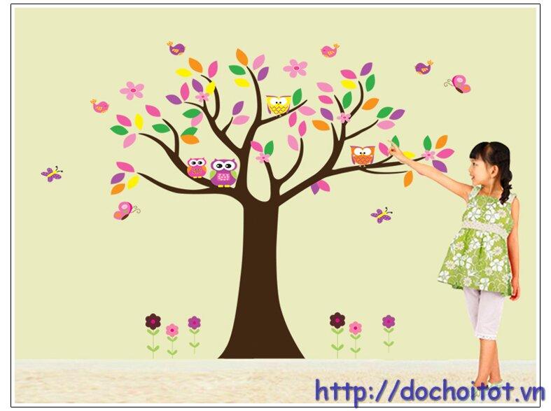 Decal trang trí hình cây và chim cú DTD5084
