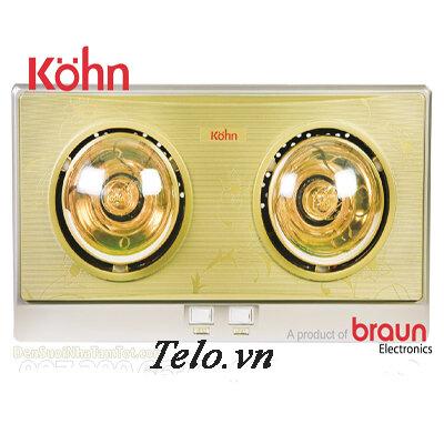 Đèn sưởi nhà tắm Braun KN02G -  2 bóng vàng