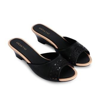 Dép nữ Gosto 3cm màu đen-GDW016700BLK