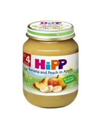 Dinh dưỡng đóng lọ HiPP chuối, đào, táo 125g
