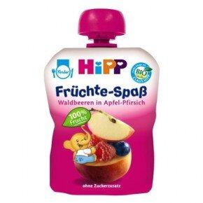 Dinh dưỡng trái cây nghiền HiPP mâm xôi, táo, đào tây