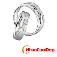 Nhẫn cưới vàng trắng NCD 2090
