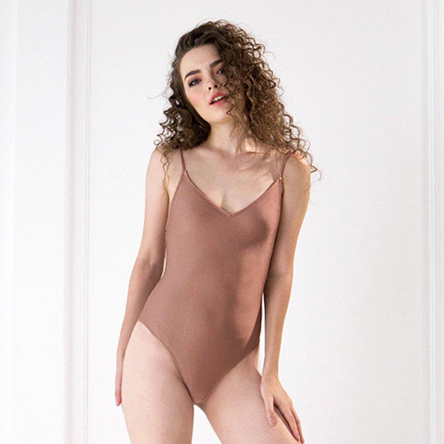 Đồ bơi liền mảnh Swimsuit phối dây đan chéo sau lưng màu nude thời trang Can De Blanc H17F8009