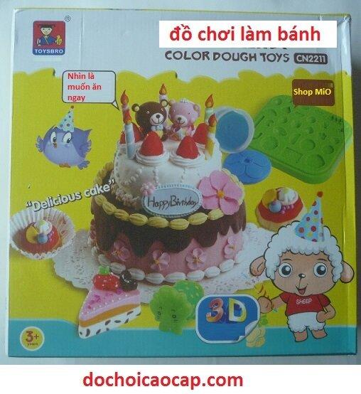 Đồ chơi đất nặn làm bánh sinh nhật, kem, kẹo, con vật