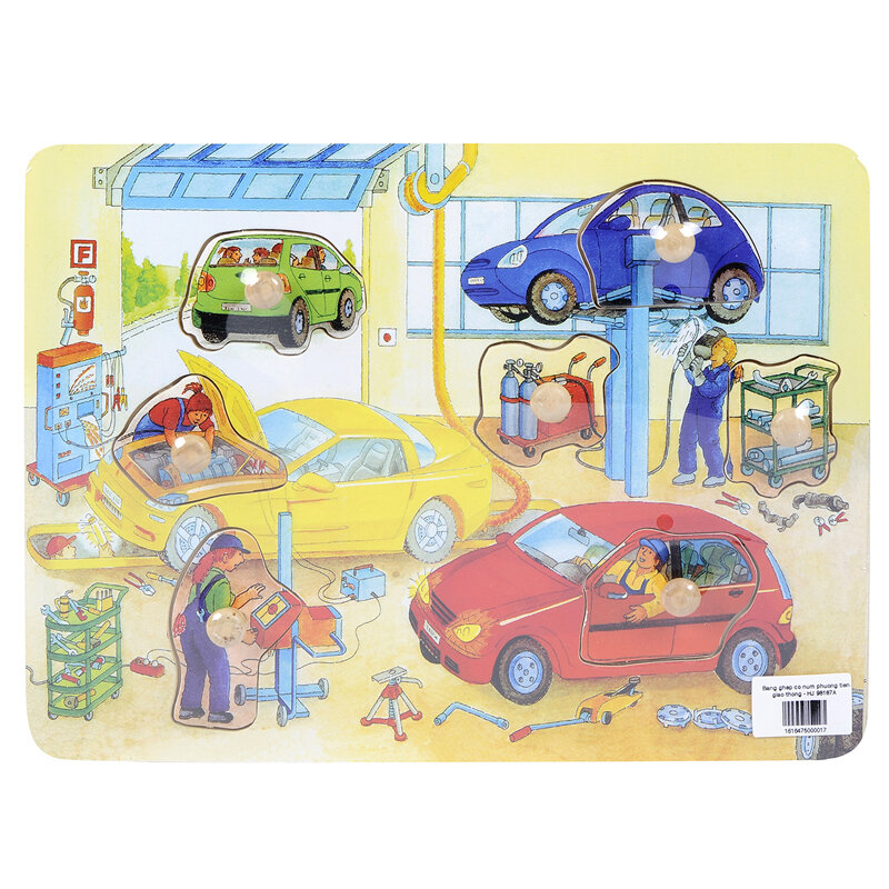 Đồ chơi gỗ Tranh ghép gara sửa ô tô Toptoys 98187A