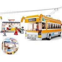 Đồ chơi lắp ráp xếp hình lego xe ô tô Bus Sluban B0332
