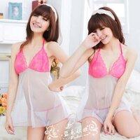 Đồ ngủ đẹp ren trắng hồng - MS351 ( GS58 )