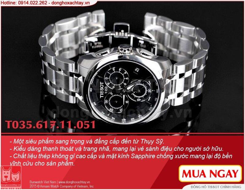 Đồng hồ chính hãng Tissot Quartz Sapphia T035.617.11.051.00