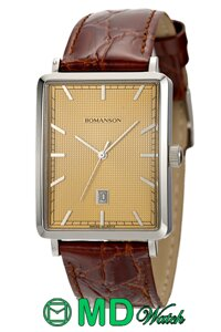 Đồng hồ nam dây da Romanson DL5163NMWGD