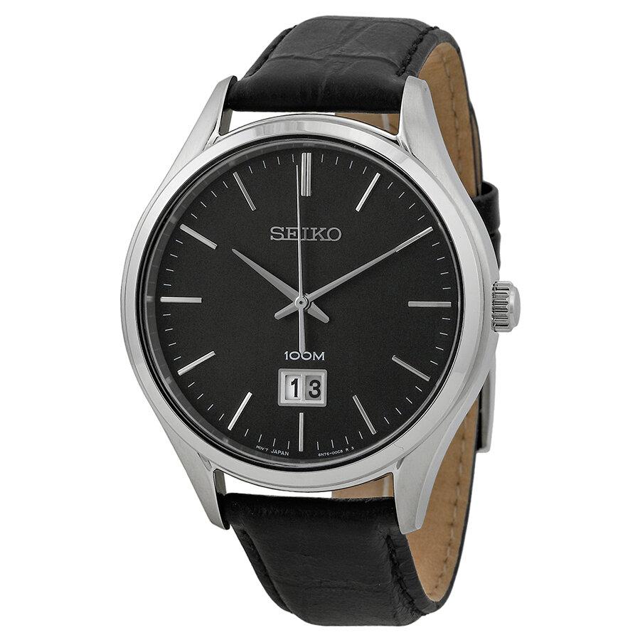 Đồng hồ nam dây da Seiko Quartz SUR023P2