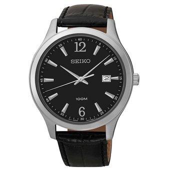 Đồng hồ nam dây da Seiko Quartz SUR055P1/ SUR056P1
