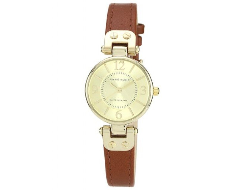 Đồng hồ nữ Anne Klein 109442CHHY Gold-Tone Champagne Dial and Brown Leather Strap Watch