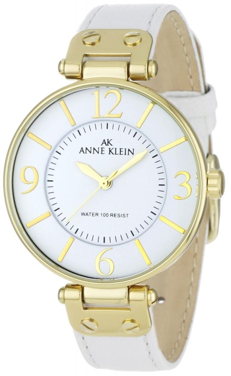 Đồng hồ nữ Anne Klein 109168WTWT Gold-Tone Round White Leather Strap Watch