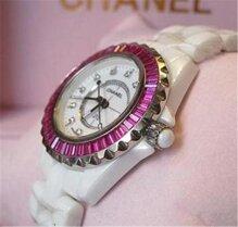 Đồng hồ nữ Chanel J12 Ceramic Viền đá đỏ cao cấp