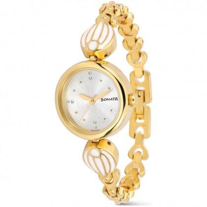 Đồng hồ nữ dây kim loại mạ vàng SONATA 8133YM01