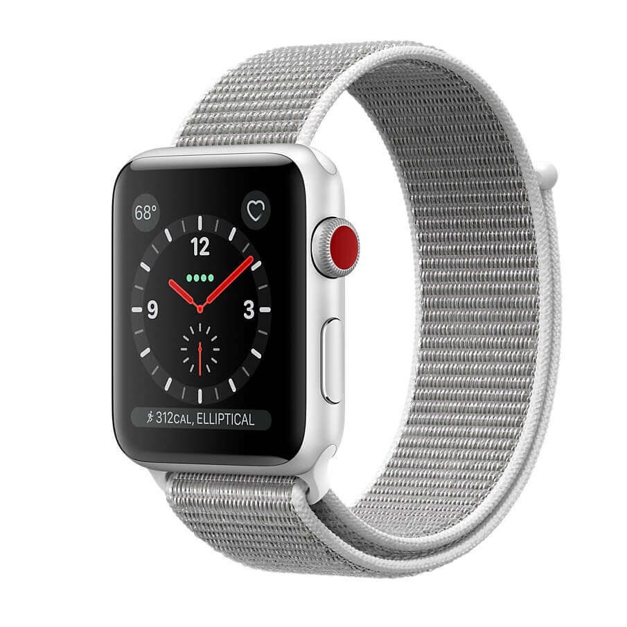 Đồng hồ thông minh Apple Watch Series 3 GPS + Cellular Silver Aluminum Case with Seashell Sport Loop
