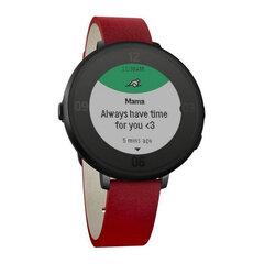 Đồng hồ thông minh Pebble Time Round Bạc (Dây da 14mm Đỏ)