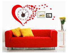 Đồng hồ trái tim đỏ 2 kèm decal trang trí