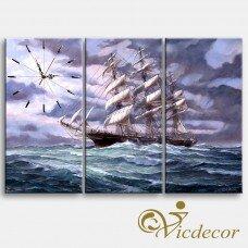 Đồng hồ tranh Ra khơi Vicdecor DHT0216