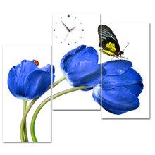 Đồng hồ tranh Tulip xanh và bướm-DHT0268