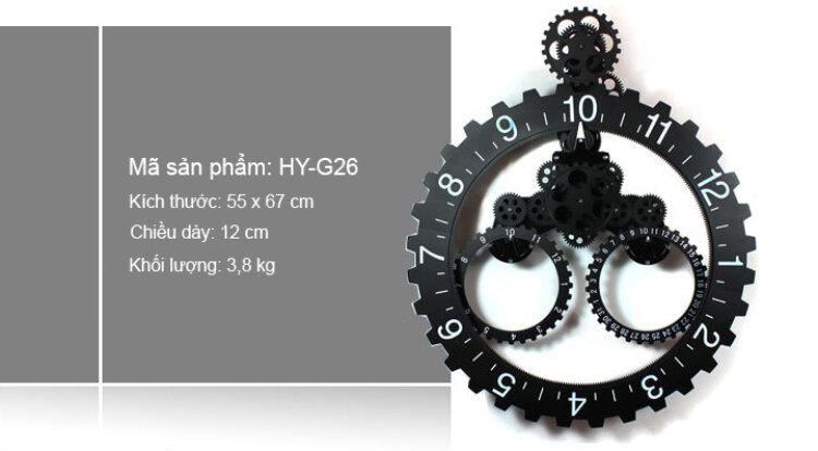 Đồng hồ treo tường kích hoạt dạng bánh răng vô cùng ấn tượn Mã HY-G026