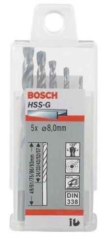 Bộ mũi khoan sắt HSS-G Bocsh 2608595072 - 8mm, 5 mũi