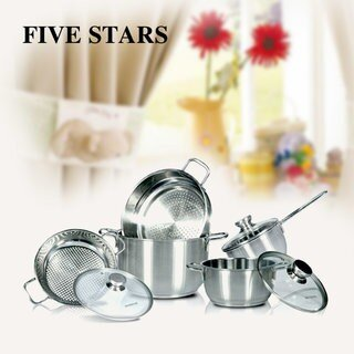 FIVE STAR - Bộ 5 nồi inox 3 đáy - 000113